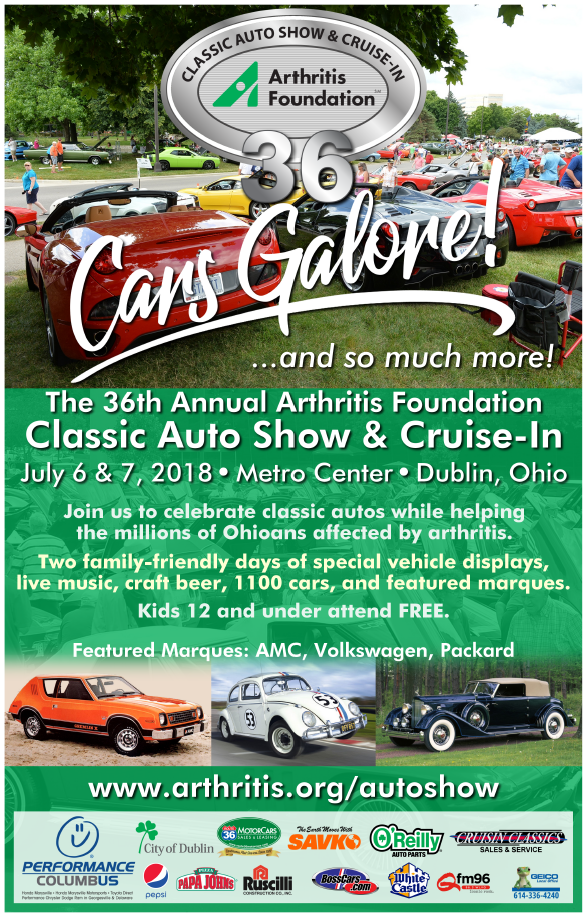 Arthritis Foundation Classic Auto Show July 6 and 7 2018 Metro Center Dublin Ohio