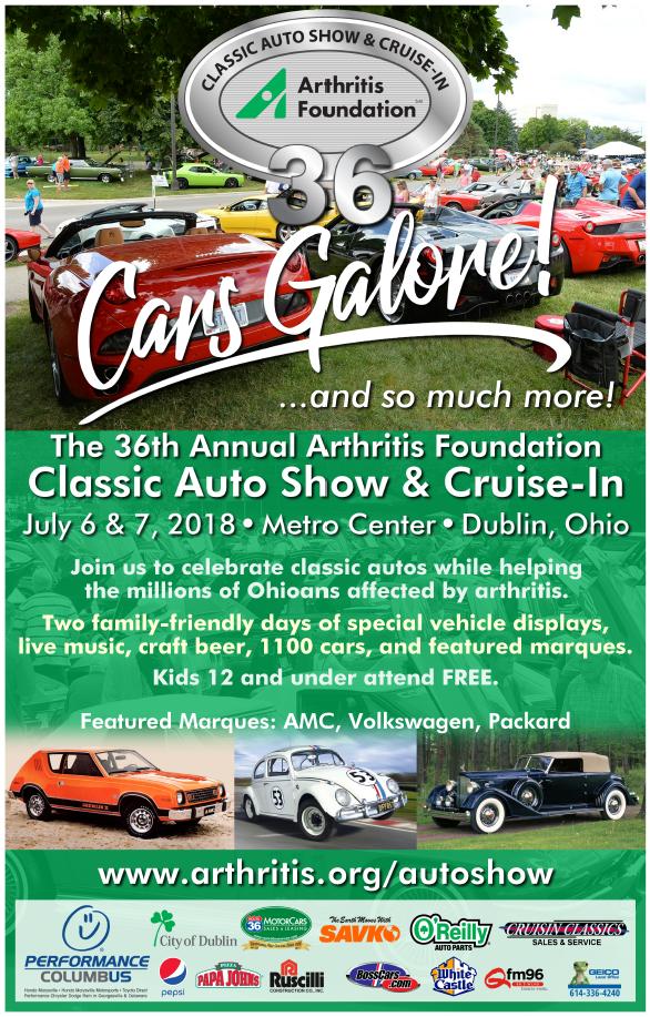 Arthritis Foundation Classic Auto Show July 6 and 7 2018 Metro Center Dublin Ohio